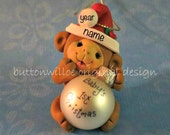 Monkey Babys 1st Christmas Ornament Personalized Ornament holding Gold Ornament