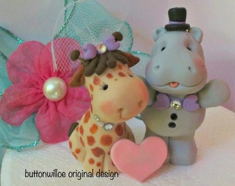 Hippo and Giraffe Wedding Cake Topper  Personalized Heart / Animal Cake Topper / Funny Cake Topper /