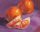 Oranges Original Painting on Archival Canvas Sheet, Kitchen or Diningroom Art