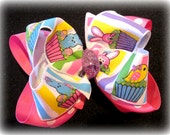 Sparkle Bunny Glitter Double Layered Hair Bow Spikey Lush Boutique Princess Big Hairbow Spring Yellow Pink Purple Cupcake Bunny