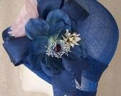 Downton Abbey Spring cloche in blue sinamay w silk flowers