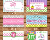 20 Rectangle Personalized Girl Enclosure Cards or Gift Stickers - Choose ONE DESIGN