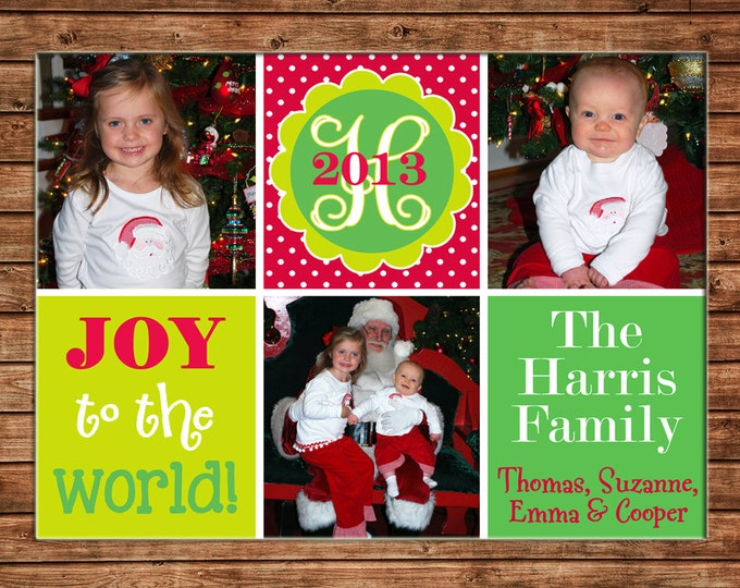 Christmas Holiday Photo Card Whimsical Red Lime Green - Can Personalize - Printable File or Printed Cards