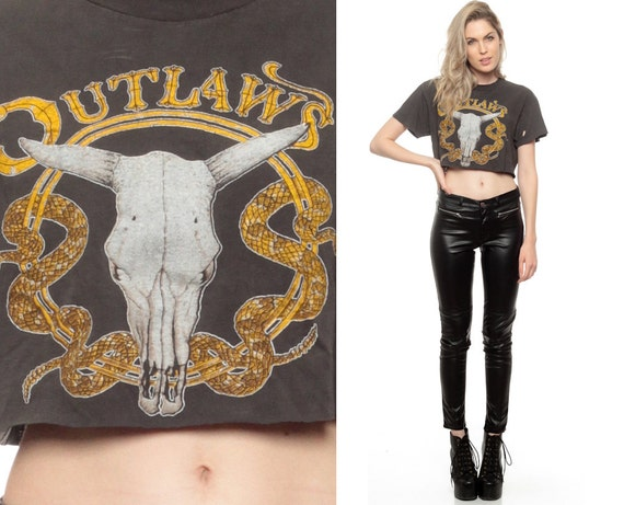 Cow Skull Shirt Outlaws Band Tee Biker T Crop Top Cropped