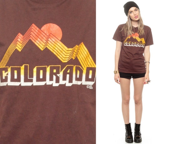 Ideal Colorado Tshirt SUNSET 70s Tee USA State T Shirt Travel Top SH04