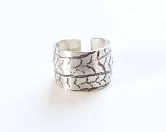"Recycled sterling silver ring, wide domed and tapered 3-dimensional design with an etched wintery pattern - ""Frost Ring"""