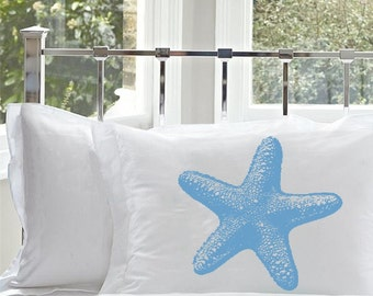 One (1) Starfish peacock light blue star fish White Nautical standard Pillowcase pillow cover screen printed