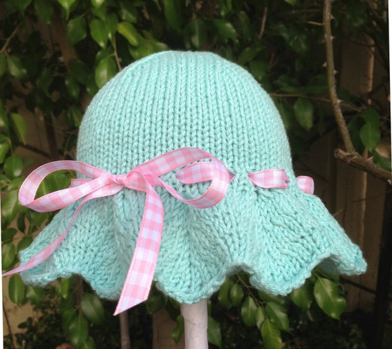 Knitting Pattern For Baby Sun Hat : Sweet Hand Knit Baby Sun Hat / Sunhat Aqua by HollyLaneBabyHats