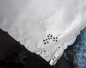 "Bridal   White Linen Hanky/Handkerchief  Embroidered ""T""  Monogram  White  . Embroiderey"