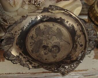 SALE Vintage ORNATE Silverplate Birds WEDDING Candy Bride Basket Bowl
