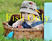 Crochet Fish for Fishing Hat or  Fishing Set