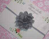 Silvery Gray Flower Headband, Mini Gray Baby Headband, Silver Chiffon Hair Bow, Baby Bow, Toddler Headband, Newborn Headband