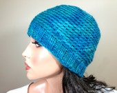 Baby Alpaca Beanie Hat, Hand Dyed Crochet Knit Hat in Teal Emerald Green Blue, Reversible // BEDFORD // Shown in Color H9