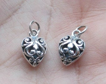 Sterling Silver Fancy Puffed Hearts(one pair)
