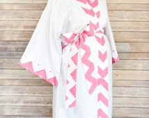 Pink Chevron Maternity Kimono Robe - Super Soft Microfleece - Add a Labor and Delivery Gown to Match