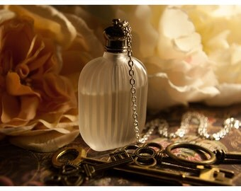 perfume bottle necklace - andromeda frost - natural perfume/cologne oil in frosted bottle held captive by chain - 62 aroma options