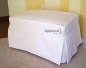 Ottoman Slipcover White Canvas Tailored Skirts Washable Slipcover Ottoman Cover