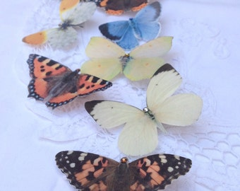 Hand cut silk butterfly hair clips - You choose a single butterfly clip.