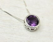 Solitaire necklace with amethyst or garnet sliding 8mm gemstone in sterling silver