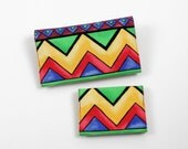 Card Case and Duplicate Checkbook Cover with Pen Holder - 2 piece set in Bright Geometric Chevrons Cotton Fabric
