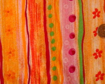 """Hot Pink Mango and Yellow Stripe and Floral Print 100% Cotton Fabric 1 yd x 44"""""""