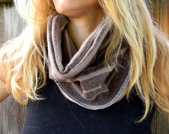 Upcycled Women Neck Warmer Cowl Brown/ Beige/ Cream Stripes  Reversible One Size Fits All