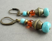 Turquoise & Baltic Amber Earrings, Leverback Earrings, Antiqued Brass, Blue Green Teal, Handcrafted