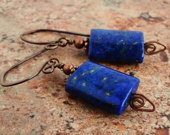 Blue Lapis Lazuli Earrings in Antiqued Genuine Copper, Gemstone Handmade Jewelry