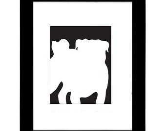 Pug Silhouette Modern Dog Art Print 8x10