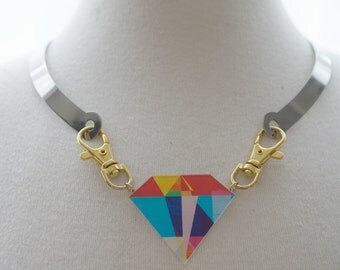 Stainless Steel Necklace with Colourful Bling Diamond
