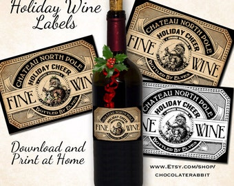 Christmas Holiday Wine Bottle Labels Tags Digital Download Printable DIY Vintage Style Clip Art Collage Sheet