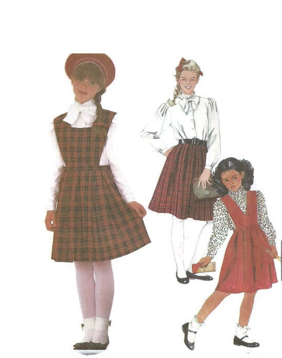 McCalls 2104 Girls girl skirt with detachable bibs and blouse pattern Sz 12