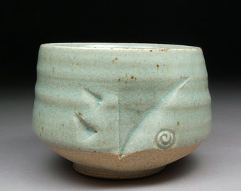 Handmade Stoneware Matcha Chawan Tea Bowl glazed with Satin Celadon with Natural Iron Spots