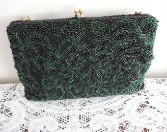 Vintage Fully Glass Beaded  Green & Black Evening Purse Holt Renfrew Made in Belgium