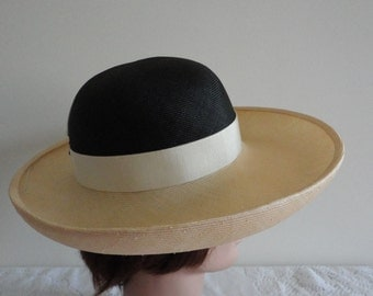 Vintage Gorgeous Natural & Black Straw Wide Rim  Women Hat Small 21 1/4 inches Anita Pineault Made in Canada 60sjh