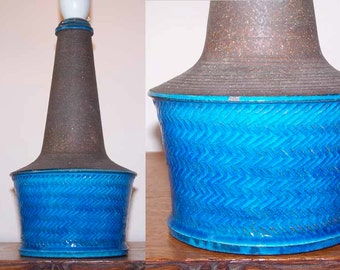 Nils Kahler, Art Pottery Lamp, Turquoise Glaze, Mid Century Modern, Scandinavian Design, Denmark Danish, Vintage, Kahler HAK, Kahler Keramic