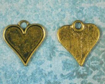 12 Heart Bezel Charm Pendants 21mm gold Setting Tray Cool for Earrings (P1338)