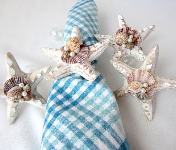 Beach decor shell starfish napkin rings by beachgrasscottage - Coastal napkin holder ...