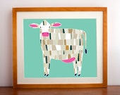 Barnyard Cow Illustration, Nursery Art, Farmhouse Decor, by Gingiber
