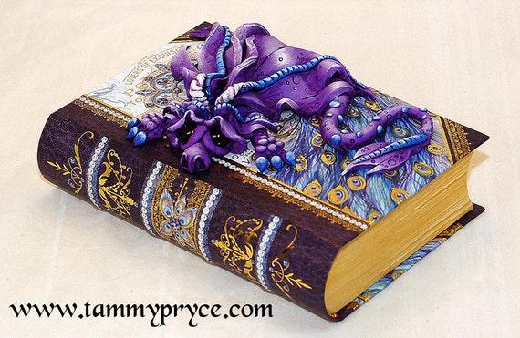 Ooak Polymer Clay Blue Purple Sad Little Dragon On Small Book