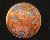 Vintage Modernist Designer Inga Enamel Leaf Autumn Pin