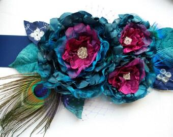 Teal Purple Pink Peacock Bridal Satin Sash Belt, Peacock Weddings Accessories, Purple Pink Flower Sash, Maternity Pregnancy Teal Sash