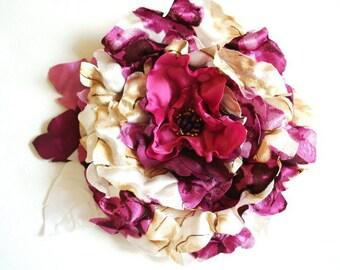 purple plum satin with taffeta flower, corsage, brooch, comb, sash, autumn fall weddings accessories, bridal purple hair clip, bridesmaids