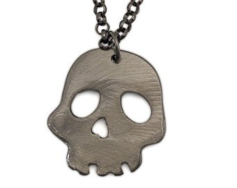 Silver Metal Skull Pendant on Gunmetal Chain by WATTO Distinctive Metal Wear