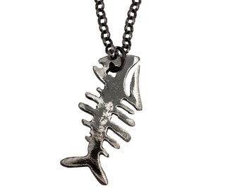 Cool mens necklace etsy fishbone necklace by watto distinctive metal wear fish bone necklace mens fishbone necklace mozeypictures Images