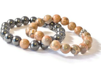 Magnetic Therapy Jewelry, Black Hematite and Jasper Stacked Stretch Bracelets