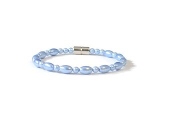 Sapphire Magnetic Hematite Health Bracelet, Arthritis Relief, Magnetic Clasp