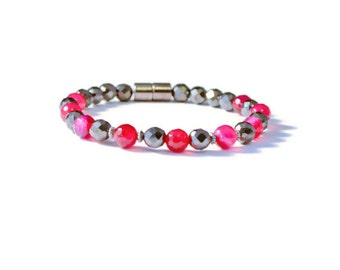 Therapeutic Magnetic Hematite Bracelet with Fuscia Fire Agate Beads, Holistic Health, Pain Relief