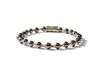 Black Magnetic Hematite Health Bracelet, Pain Relief, Therapy Jewelry