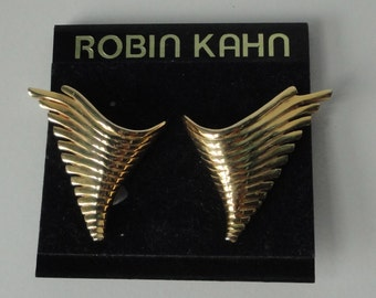Robin Kahn 1980's Gold tone Clip On Earrings.